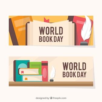 Bandiere piane di giorno del libro mondiale