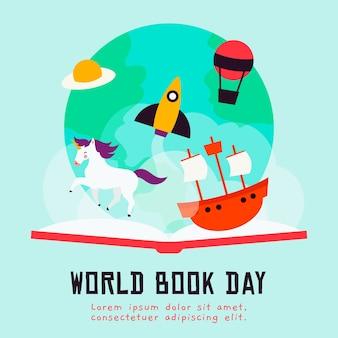 Illustrazioni piane della giornata mondiale del libro