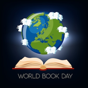 World book day greeting card with open book and earth globe with clouds on dark blue background.
