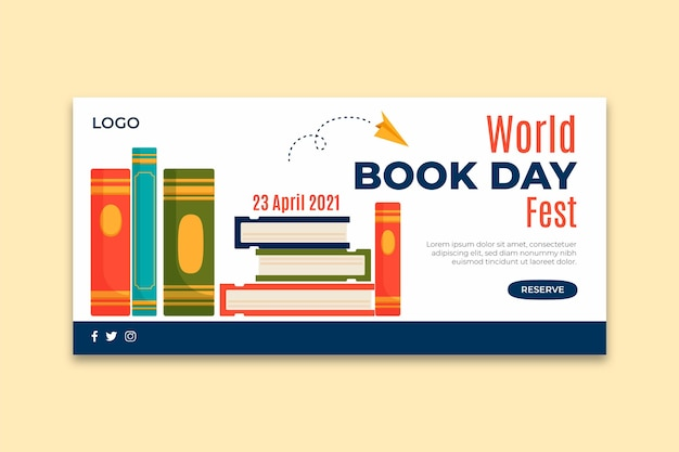 World book day horizontal banner template