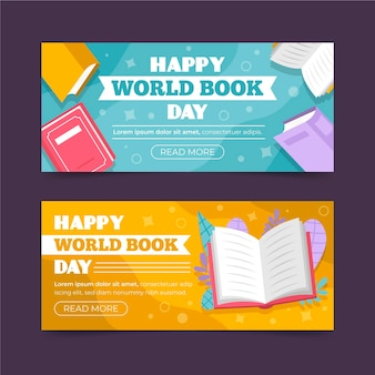 World book day horizontal banners collection Free Vector