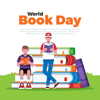 World book day illustration in flat style