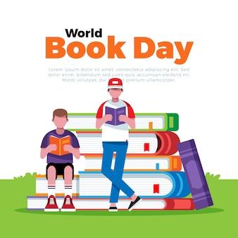 Всемирный день книги иллюстрации в плоском стиле