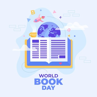 World book day illustration with book and planet