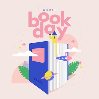 World book day illustration with book