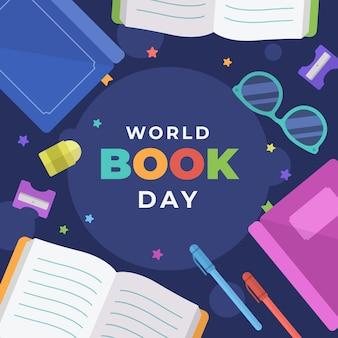 本と世界図書の日のイラスト