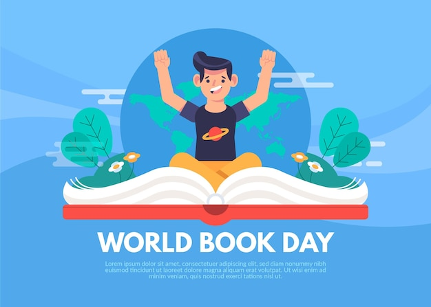 World book day illustration with man and open book