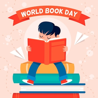 World book day illustration with person reading Free Vector