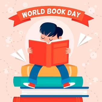 読んでいる人と世界図書の日のイラスト