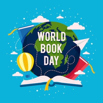 World book day illustration with planet and books Free Vector