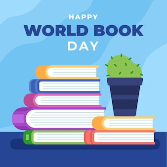 World book day illustration with stack of books and cactus