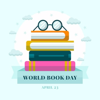 World book day illustration with stack of books and glasses