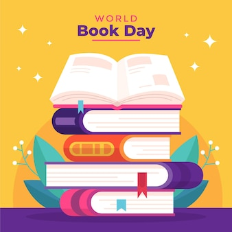 本のスタックと世界図書の日のイラスト