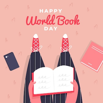 World book day illustration with top view of person reading