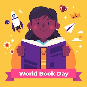 World book day illustration with woman reading book