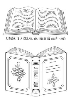 Всемирный день книги. изолированные открытые книги. подробная раскраска каракули для взрослых