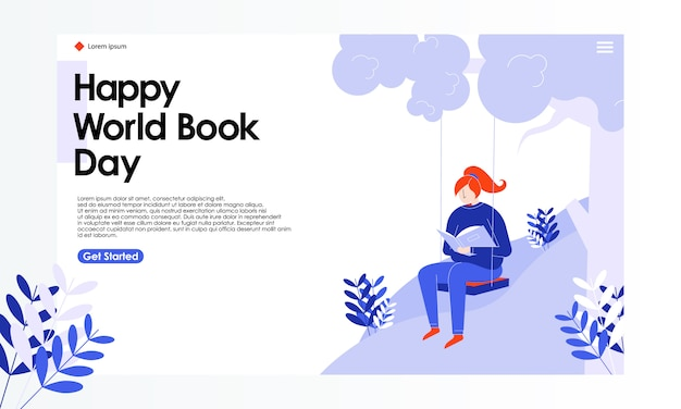 World book day landing page illustration