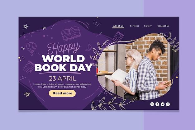 Modello di pagina di destinazione della giornata mondiale del libro