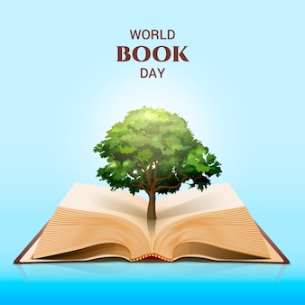 World book day and magical green tree