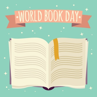 World book day, open book with festive banner