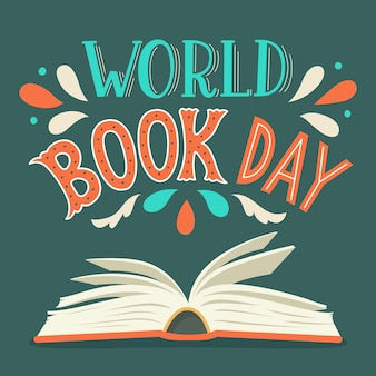 World book day. open book with hand drawn lettering.