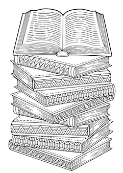 World book day. opened books in a mandala style. detailed doodle coloring for adults