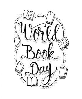 World book day quotes with books hand drawn lettering