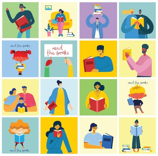 Всемирный день книги, чтение книг и книжный фестиваль в плоском стиле. люди сидят, стоят, ходят и читают книгу