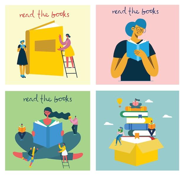 世界の本の日、本を読んだり、ブックフェスティバルをモダンなフラットスタイルで座って立って歩いて本を読む人