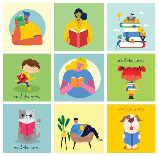 세계 책의 날, 플랫 스타일의 책 읽기. 사람들은 앉아서 서서 걷고 책을 읽습니다.