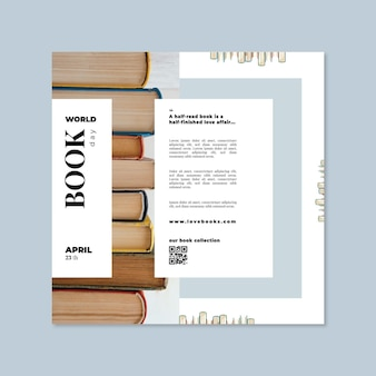 World book day square flyer template