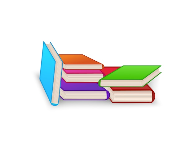 World book day. stack of colorful books isolated. education vector illustration.