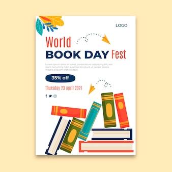World book day vertical flyer template