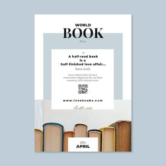 Шаблон вертикального флаера всемирного дня книги