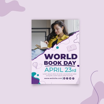 World book day vertical flyer template