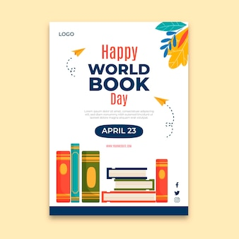 Шаблон вертикального плаката всемирного дня книги