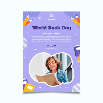 World book day vertical poster template