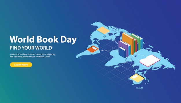 World book day website banner design with world maps