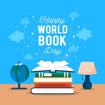 World book day with books and globe