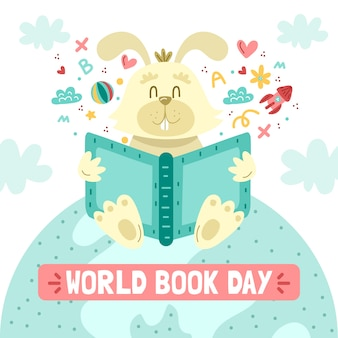 World book day with bunny and book