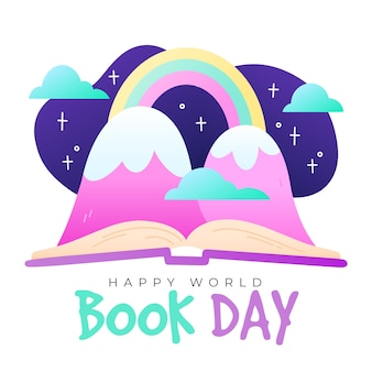World book day with fantasy mountains and rainbows