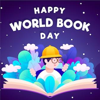 読書する男と世界本の日