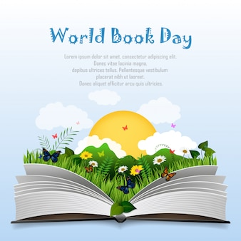 World book day with open book and green grass