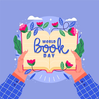 World book day with person holding open book with flowers