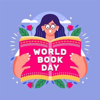 本を読む女性と世界本の日