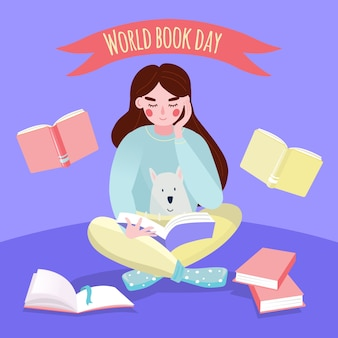 World book day with woman reading