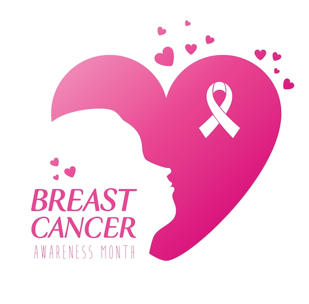 Of world breast cancer awareness month with profile woman and hearts