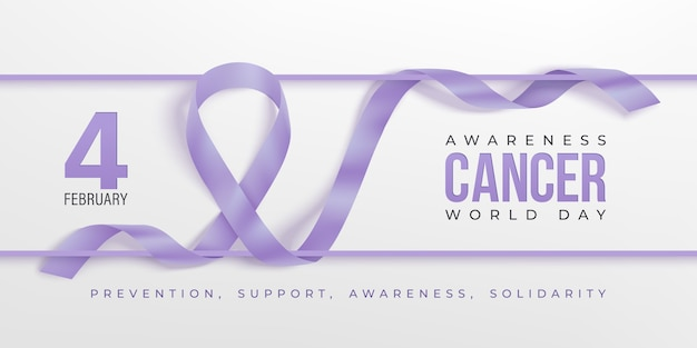 World cancer awareness day horizontal banner. lavender ribbon and frame