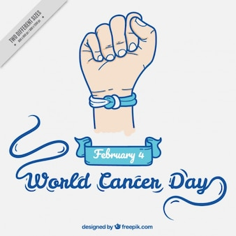 World cancer day background with bracelet