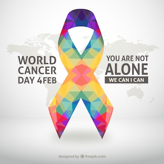 World cancer day background with colorful ribbon